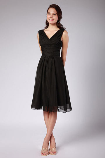 Dressesmall Ruching Pleated Chiffon Straps Black Knee Length Formal Bridesmaid Dress