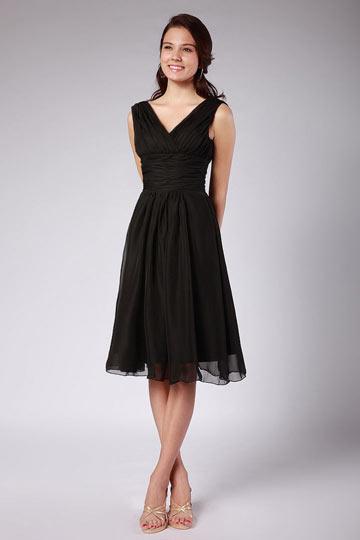 Vestido de madrinha em Chiffon preto pregueado e plissado Na altura do joelho