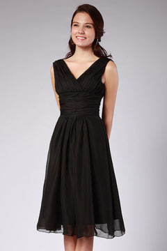 Ruching Pleated Chiffon Straps Black Knee Length Formal Bridesmaid Dress