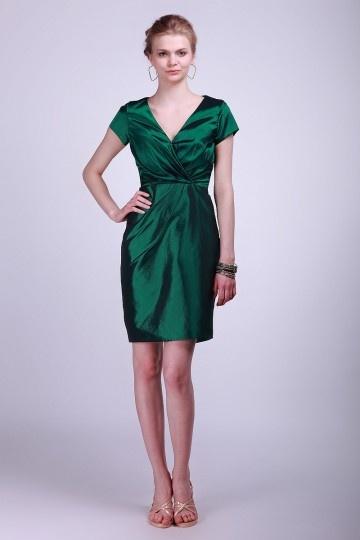 Taffeta V neck Cap Sleeve Column Green Bridesmaid Dress