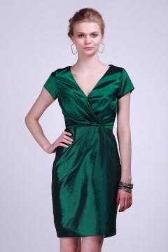 Rotherham Taffeta V neck Cap Sleeve Green Bridesmaid Dress