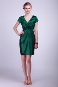 V Neck Cap Sleeve Taffeta Column Green Bridesmaid Dress