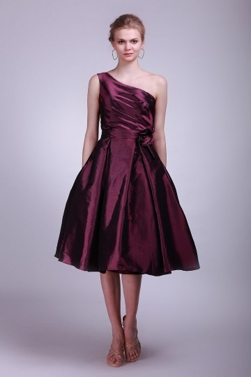 Taffeta One Shoulder A Line Tea Length Bridesmaid Dress with puff skirt