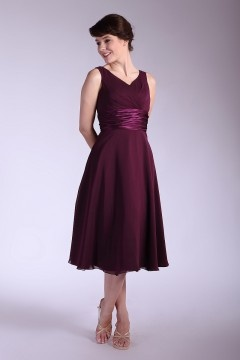 Rowley Regis Straps Ruching Empire Burgundy Bridesmaid Dress