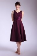 Chiffon Tea Length V Neck Bridesmaid Dress with ruched details