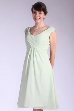 Royston Green Ruching Knee Length Bridesmaid Dress