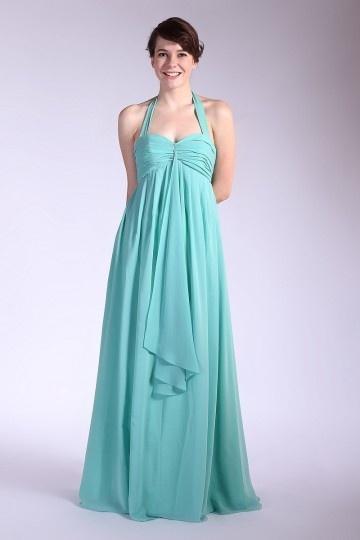 Vestido de madrinha longo em Chiffon decote meio plissado Vestido longo
