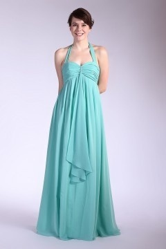 Chiffon Pleated Ruffle Halter Floor Length Bridesmaid Dress