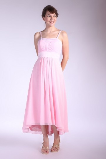 Chiffon Spaghetti Straps Pleated Ankle Length Pink Bridesmaid Dress