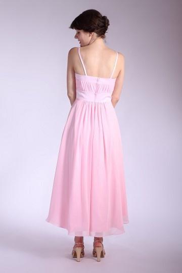 Schlichtes rosa A-Linie Knöchellang Falte Chiffon ...
