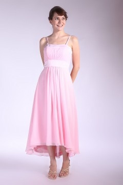 Runcorn Spaghetti Straps Pleated Ankle Length Pink Bridesmaid Gown