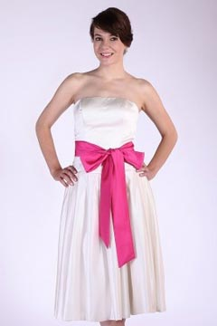 Satin Ruching Sash Strapless Tea Length Bridesmaid Dress