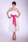 Ruching Sash Satin Strapless Tea Length Bridesmaid Dress