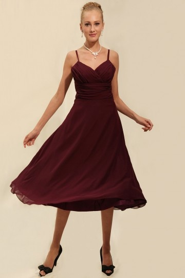 Dressesmall Ruching Chiffon Spaghetti Straps Tea Length Burgundy Formal Bridesmaid Dress