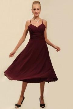 Ruching Chiffon Spaghetti Straps Tea Length Burgundy Formal Bridesmaid Dress