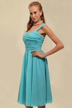 Rye Chiffon One Shoulder Ruching A line Knee Length Bridesmaid Dress