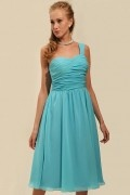Chiffon One Shoulder Ruching A line Knee Length Bridesmaid Dress