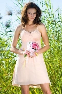 St Albans Spaghetti Straps Short Pink Bridesmaid Dress