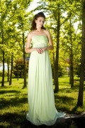 Strapless Empire Mint A line Floor Length Chiffon Formal Bridesmaid Dress
