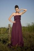 Chiffon Strapless Applique Ruffle Burgundy Long Bridesmaid Dress