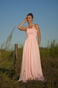 Chiffon Halter Ruching Pleated Pink Long A line Bridesmaid Dress