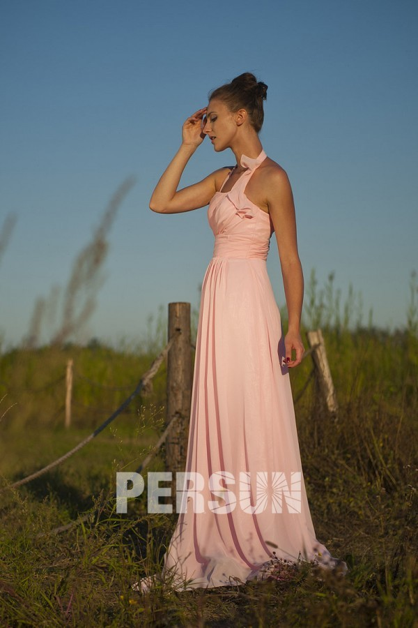 simple robe mousseline pastel empire col halter pour cort ge mariage. Black Bedroom Furniture Sets. Home Design Ideas