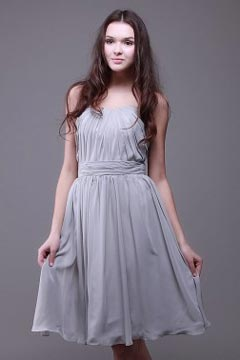 Redditch Chiffon Strapless Pleated Knee Length Grey Bridesmaid Dress