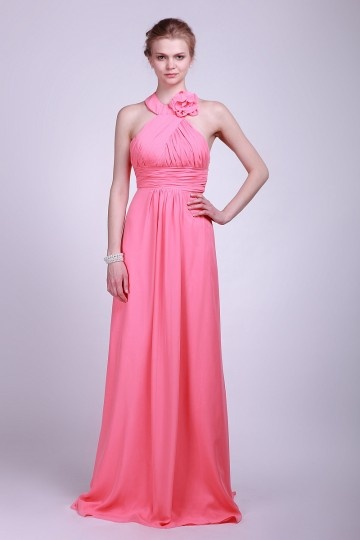 Chiffon Halter Ruching Applique Long Watermelon Bridesmaid Dress