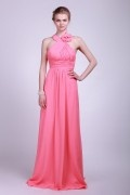 Halter Watermelon Ruching Applique Floor Length Chiffon Bridesmaid Dress