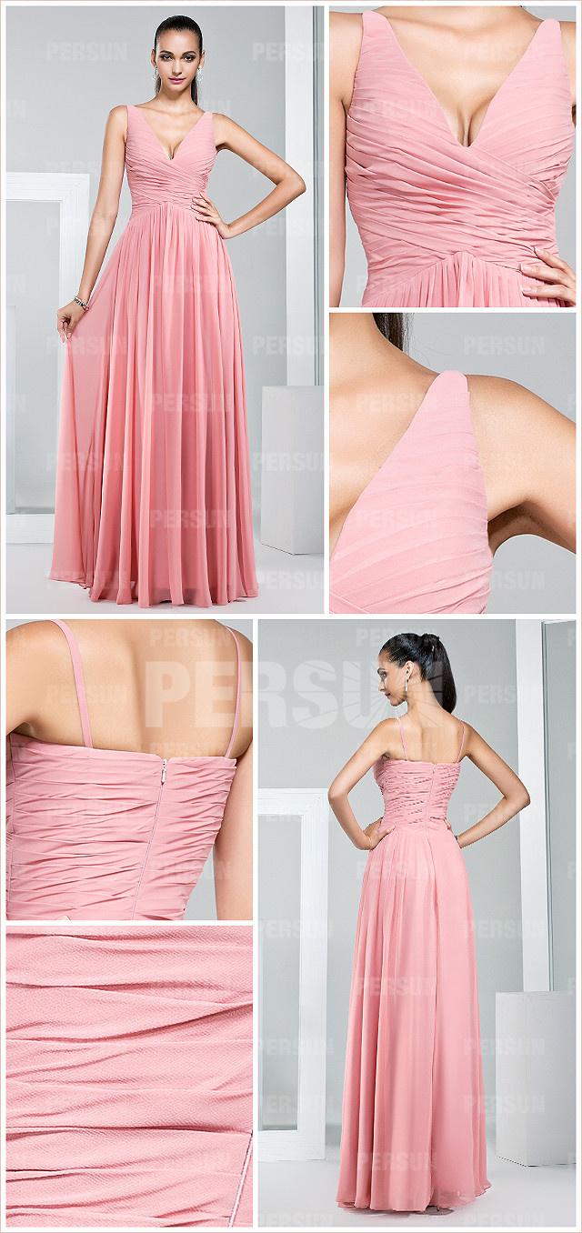 pink chiffon ruching pleates a line long bridesmaid dress