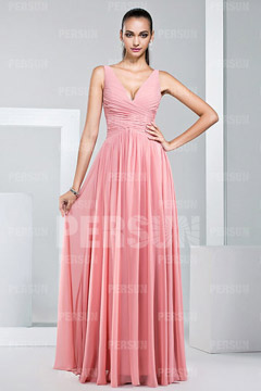 Straps Ruching Pleates A-line Long Chiffon Bridesmaid Dress
