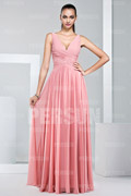 Chiffon Straps Ruching Pleats A line Long Bridesmaid Dress