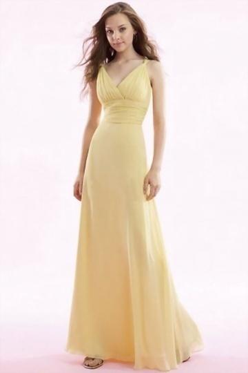 Sexy Gelb Träger A Linie Bodenlang Ruching Abendkleid aus Chiffon Persunshop