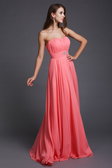 Dressesmall Simple Strapless Ruched Chiffon Long Formal Bridesmaid Dress