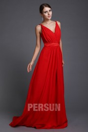 Sexy Spaghetti Straps Long Chiffon Red Bridesmaid Dress