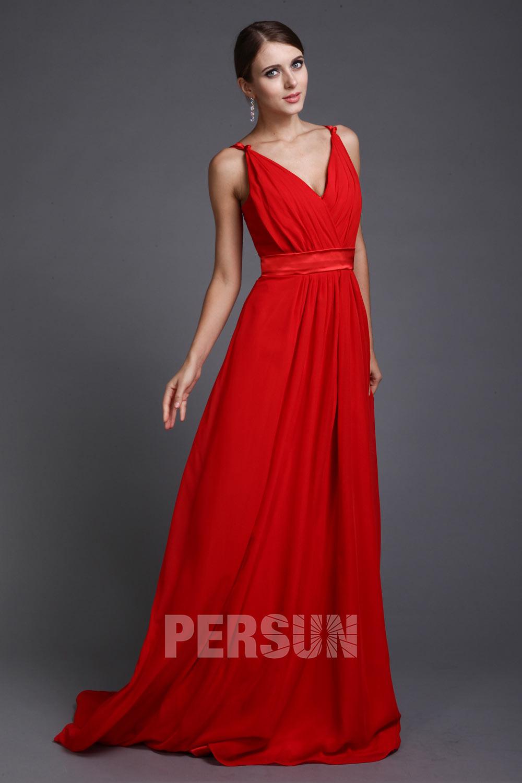 Robe de soirée rouge style simple ceinturée à encolure V