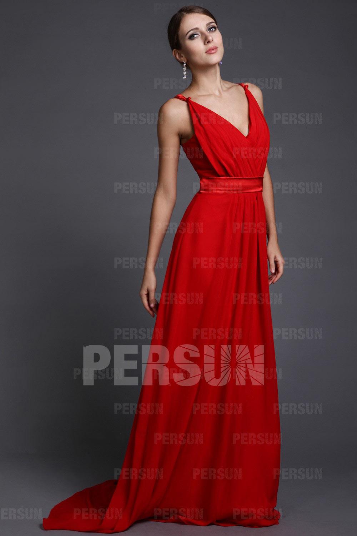 Robe soirée rouge style simple ceinturée à encolure V