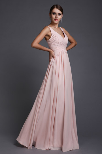 Dressesmall Elegant A line V neck Ruched Chiffon Empire Long Formal Bridesmaid Dress