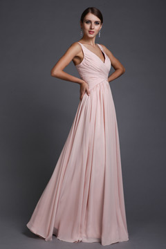 Pudsey Elegant Chiffon V neck Ruched A line Long Bridesmaid Dress
