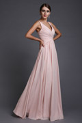 Sexy V Neck A Line Ruched Chiffon Empire Long Pink Bridesmaid Dress
