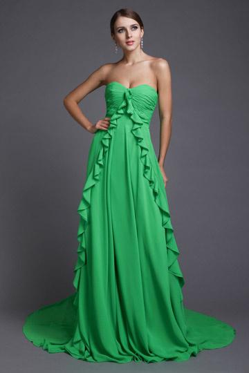 Fresh Ruffles Strapless Empire Chiffon Long Bridesmaid Dress