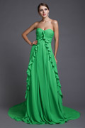 Fresh Ruffles Strapless Empire Chiffon Long Formal Bridesmaid Dress