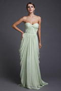 Sexy Backless Sweetheart Ruched Chiffon Long Formal Bridesmaid Dress