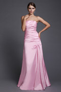 Simple Strapless Elastic Woven Satin Long Pink Bridesmaid Dress
