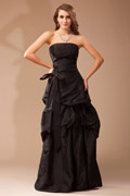 Modern A-line Pick Up Taffeta Long Black Bridesmaid Dress