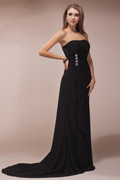 Simple Ruched Beaded Chiffon Long Black Bridesmaid Dress