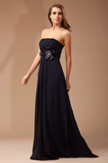 Chic Appliques Beading Ruched Chiffon Long Black Bridesmaid Dress