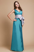 Graceful V Neck Sash Long Bridesmaid Dress