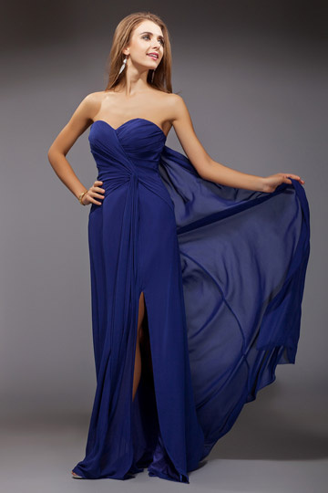 Sweet Sweetheart Ruched Split Chiffon Long Blue Bridesmaid Dress