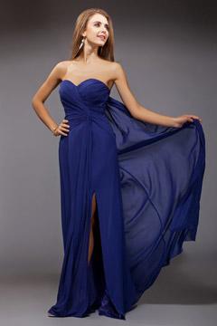 Robe bleu bustier cœur avec fente latérale